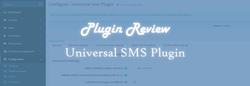 A look at Universal SMS Plugin for nopCommerce