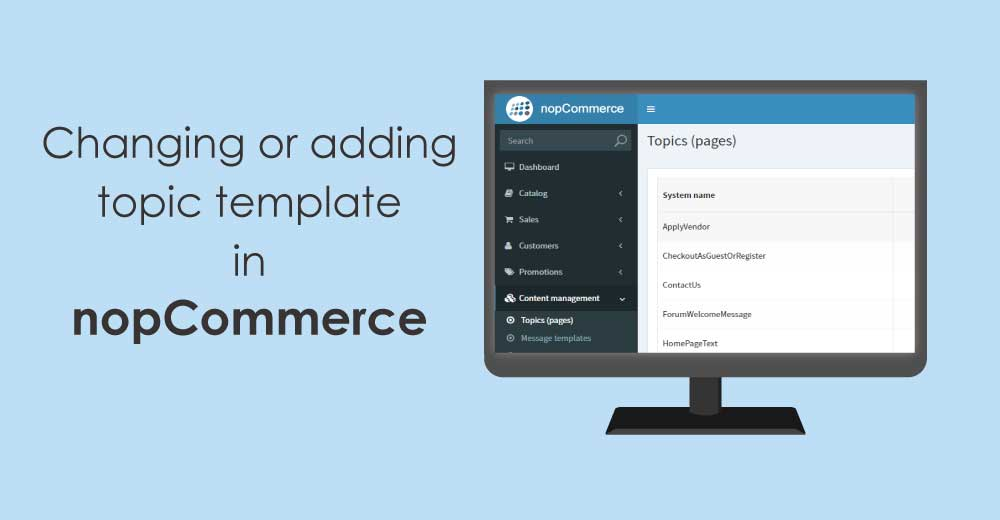 How to change or add topic template in nopCommerce