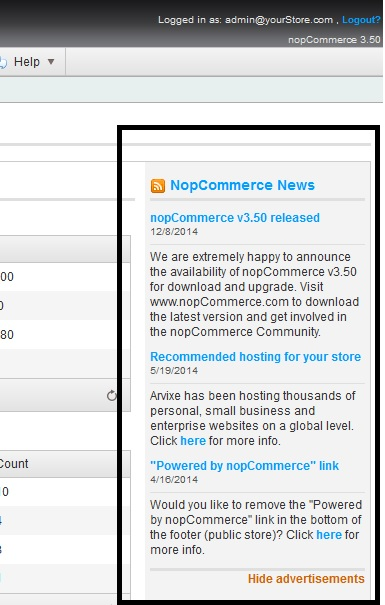 nopCommerce admin news feed