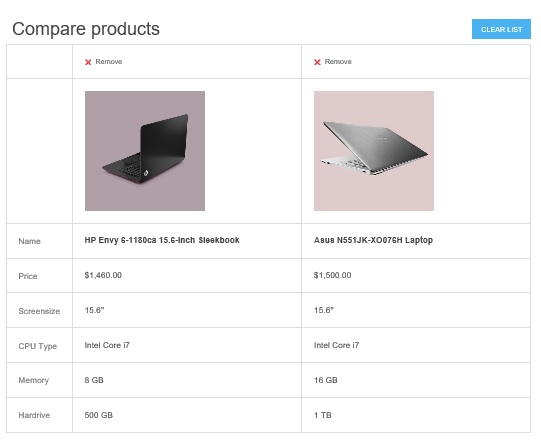 nopcommerce compare list