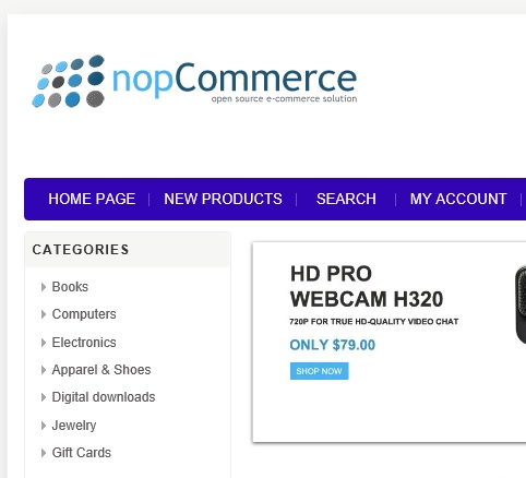 nopCommerce top menu bar