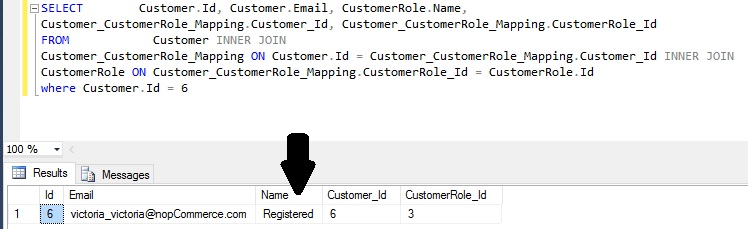 nopCommerce SQL Query
