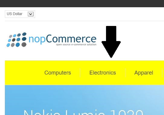 nopcommerce top menu
