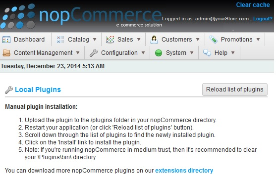 Manage plugins in nopCommerce