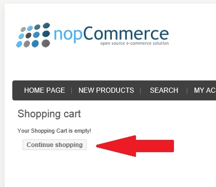 nopCommerce empty cart page