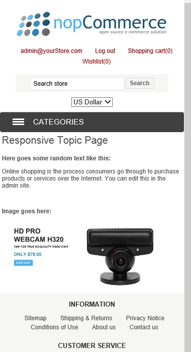 nopCommerce responsive topic